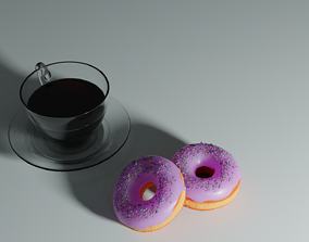 3D model Donuts and Coffee from tutorial by Blender