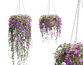 Set of petunias in pots on a chain - 2 different models