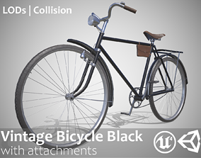 3D model Customizable Vintage Bicycle Black - Updated for