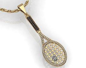 pendant tennis racquet 3D printable model