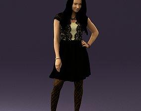 Woman in black white blouse 0603 3D printable model