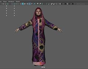 3D asset Arab muslim woman hijab lowpoly