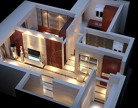 rigged A set of simple style apartment 3D model 2 3D model