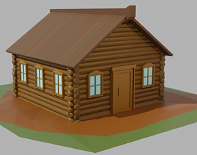 3D model Cartoon Low-poly wooden house