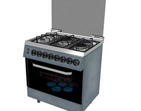 3D asset Stylized Kitchen Stove 002