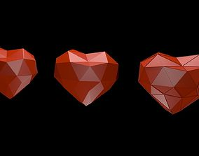 Low poly red hearts 1 3D model