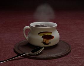 Soup pot and metal spoon 3D model