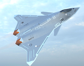 3D asset game-ready fa-xx fifth generation fighter jet