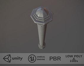 Barrier Bollard pack 3 Gray v2 3D asset