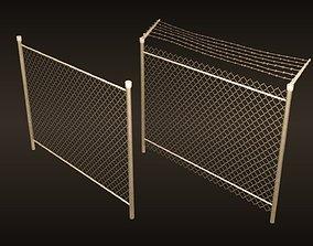 3D model game-ready A chain-link fences set