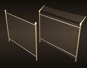 3D model game-ready A chain-link fences set