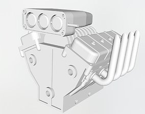 3D printable model V8 engine