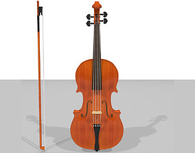 Violin and Bow - Traditional Wood Finish 3D