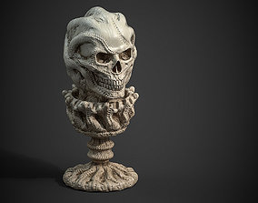 low-poly skull candle low poly and high poly 3d print 1