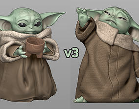 Baby Yoda Using The Force - With Cup - 3D print model 3