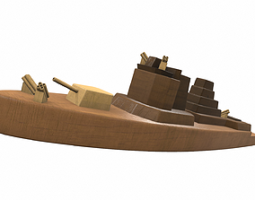 3D Wooden ship toy 4