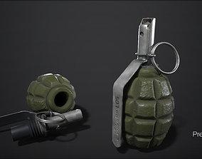 3D asset F-1 grenade - PBR - 2k - FPS ready
