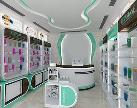 3D asset pharmacy stand interior 1