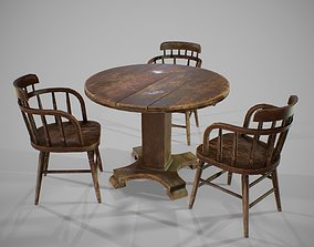 3D asset PBR Old Table and Chair