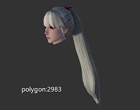 3D asset girl hair style 06