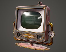 3D model VR / AR ready Antique Steam Punk TV Monitor