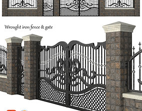 Wrought iron fence and gate 3D model