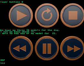 Low poly player buttons 8 3D model