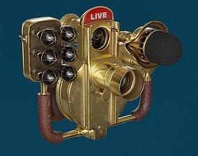 3D Retro vintage golden Live Stream Camera
