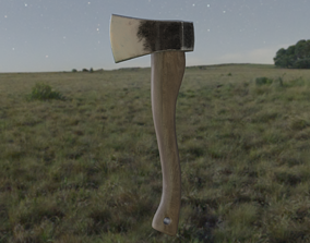 Hatchet 3D low poly axe PBR model game ready game-ready