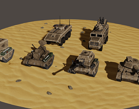 stylized military vehicles rocket 3D