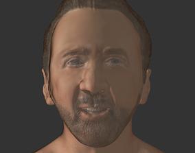 game-ready Nicolas cage actor realistic head 3D print
