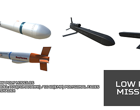 3D model game-ready Low Poly Missile Pack