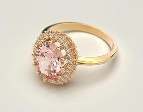 Morganite Engagement ring 3D print model