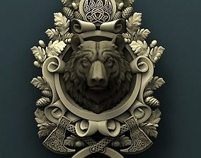Bear medallion 3d stl model for cnc 3D print model