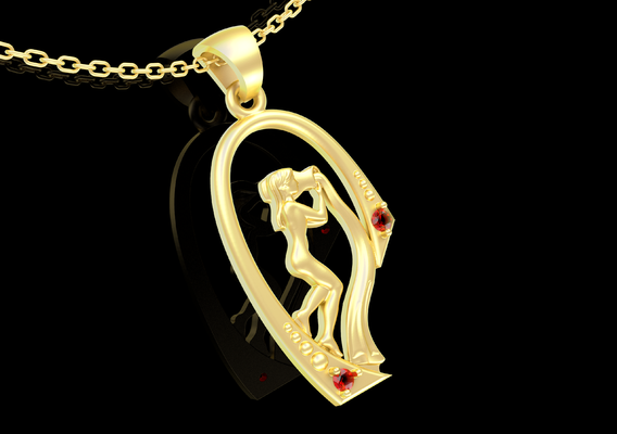 Water Girl Pendant Jewelry Gold 3D print model