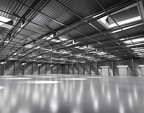 3D Spacious empty metal beamed Warehouse