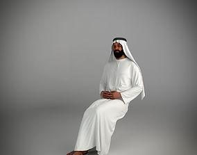 3D Traditional arab man from dubai posed sitting