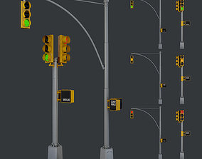 3D model Traffic Light Pack Low Poly Game Ready