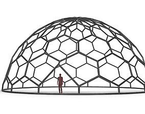Hexagonal Dome Pattern Wireframe Structure 3D