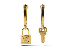 LV Earrings with keys and lock 3D print model