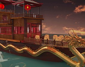 3D model ship Chinese ancient dragon house boat