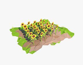 3D asset game-ready Cartoon sunflowers