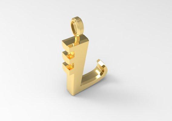 L Letter Pendant Gold