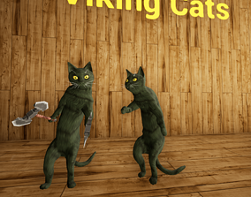 3D model Viking Villager Cat Animated Character 137 1