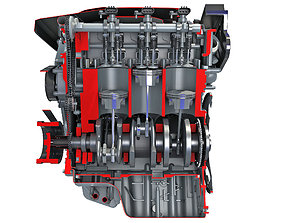 3D Animated Sectioned V6 Engine