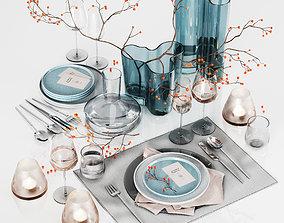 Table setting with rowan 3D model