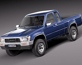 3D model Toyota Hilux Pickup Extended cab 1989-1997