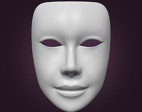 3D asset Female Theater Mask with neutral expressions