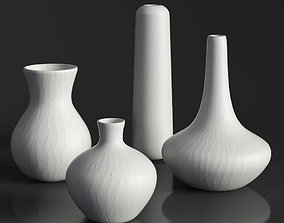 3D model RH MATTE WHITE GLASS VASE COLLECTION Set-02