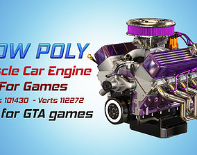 Muscle Car Engine - V8 Muscle Engine Four 3D model